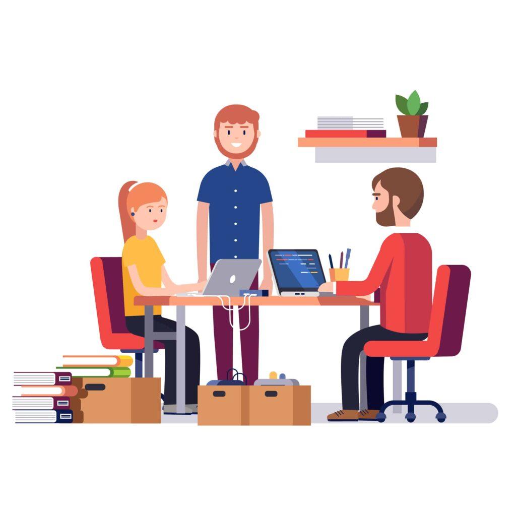 desenho representanto três empreendedores