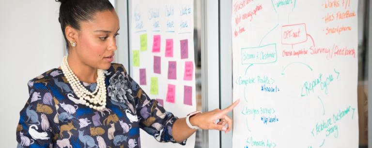 uma mulher em ambiente de trabalho à frente de um quadro repleto de anotações e post its. imagem principal do conteúdo sobre liderança feminina.