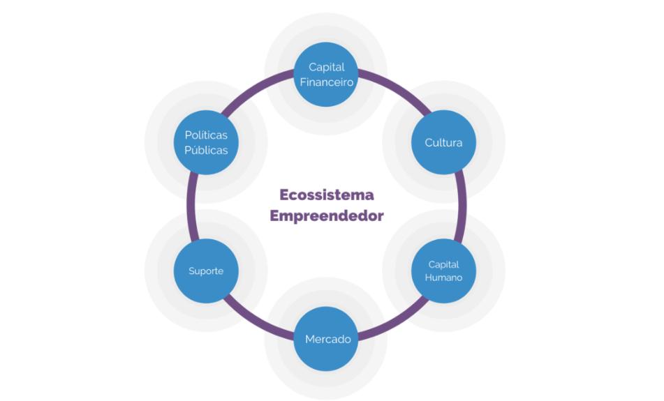 ilustração do organograma do ecossistema empreendedor
