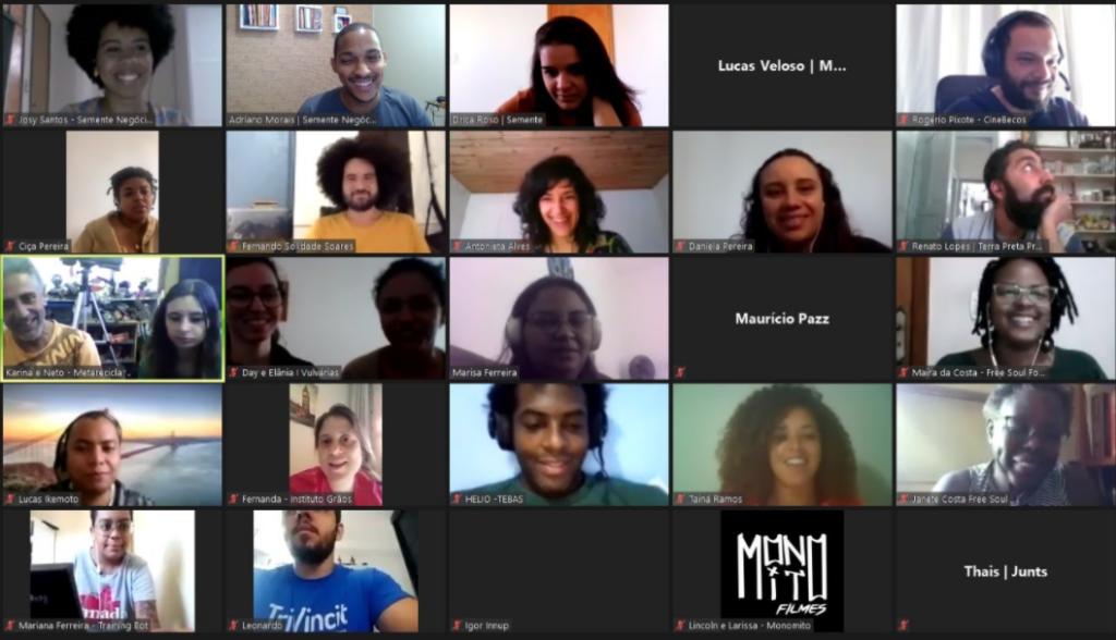 captura de tela de um dos encontros virtuais do VAI TEC, o programa que se dedica a impulsionar o empreender na periferia.
